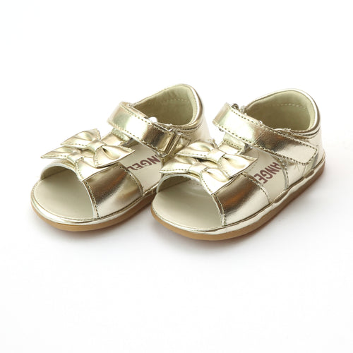 Angel Baby Girls Kira White Double Bow Sandal (Baby) - Lamourshoes.com