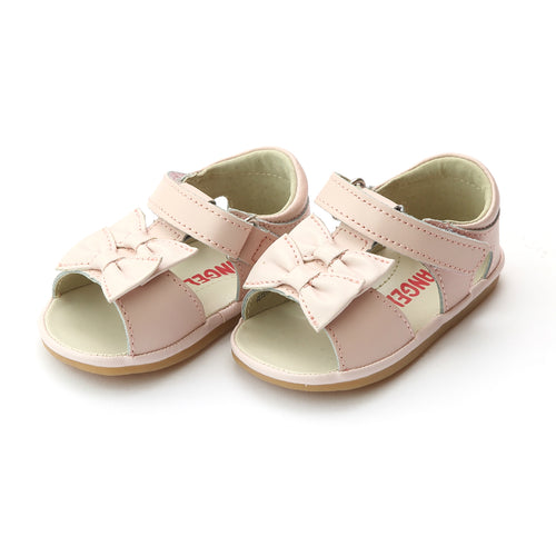 Angel Baby Girls Kira Pink Double Bow Sandal (Baby) - Lamourshoes.com
