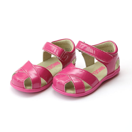 Angel Toddler Girls Meira Patent Fuchsia Cross Strap Sandal - Lamourshoes.com