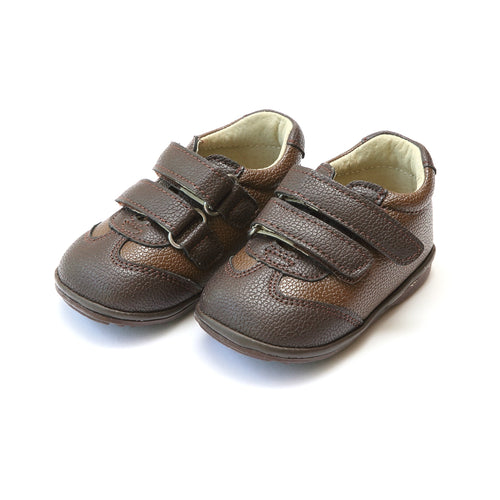 Jake Boy's Brown Leather Double Velcro Sneaker (Baby) - L'Amour Sneaker