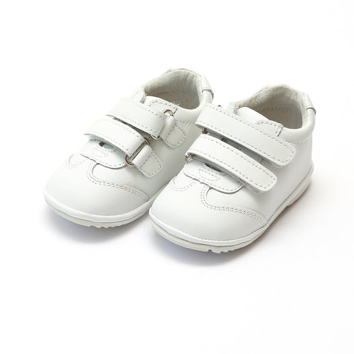 Jake Boy's White Leather Double Velcro Sneaker (Baby) - L'Amour Sneaker