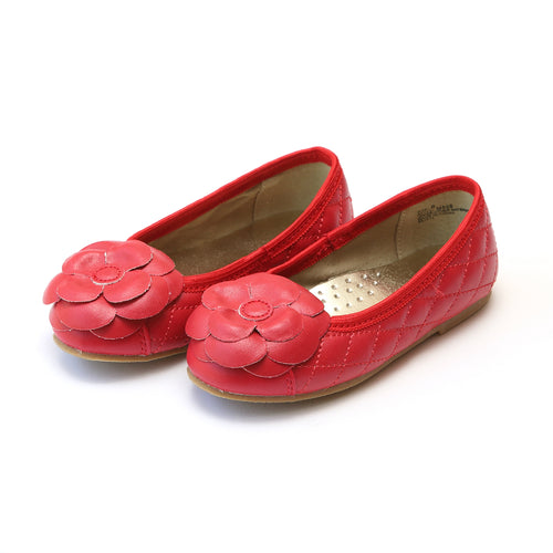 Cassandra Red Flower Quilted Flat - L'Amour Flats