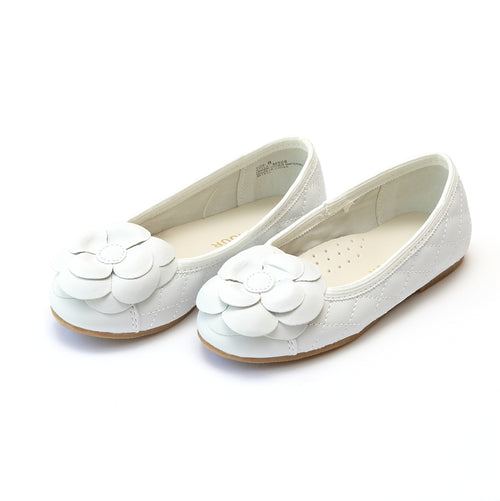 Cassandra White Flower Quilted Flat - L'Amour Flats