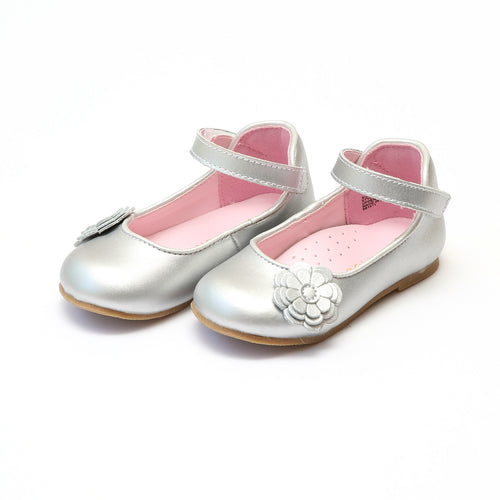 Laura Silver Triple Flower Special Occasion Mary Jane - L'Amour Shoes