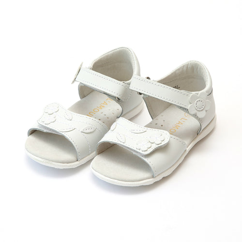 Primavera Girls Open Toe White Leather Sandal - L'Amour Shoes