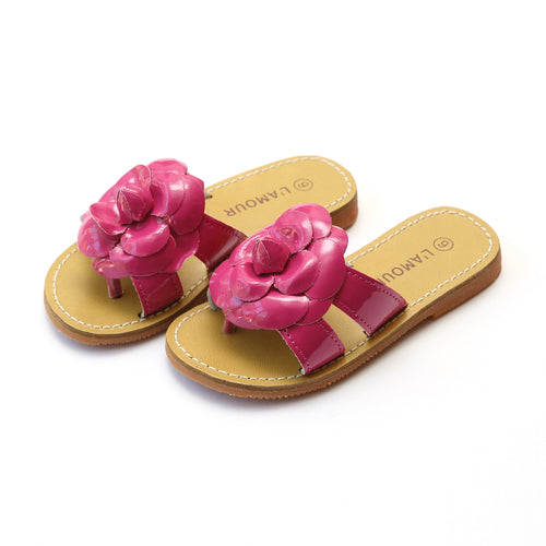 Florence Fuchsia Double Strap Flower Thong Sandal - L'Amour Shoes