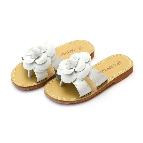 Florence White Double Strap Flower Thong Sandal - L'Amour Shoes