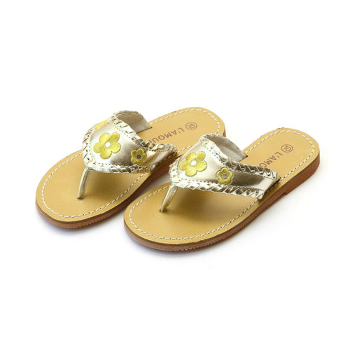 Jackie Girls Gold Whipstitched Flower Thong Sandal - L'Amour Shoes