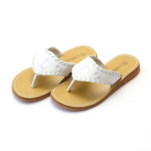 Jackie Girls White Whipstitched Flower Thong Sandal - L'Amour Shoes