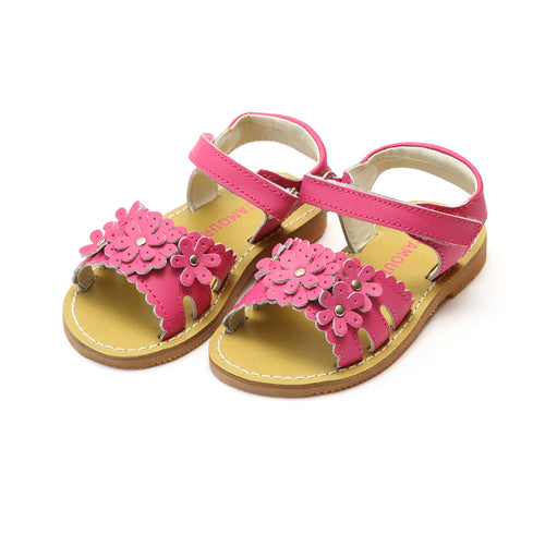 Nadine Blossom Open Toe Fuchsia Leather Sandal - L'Amour Shoes