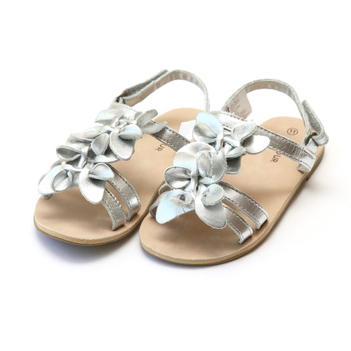 Georgia Girls Silver Blossom Open Toe Sandal - L'Amour Shoes