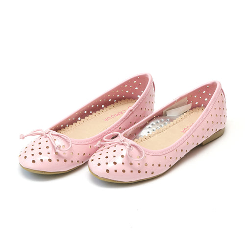 L'Amour Girls Brianna Cutout Pink Laser Cut Ballet Flat - Lamourshoes.com