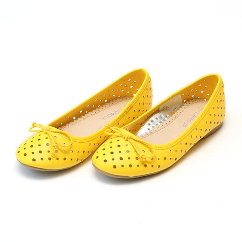 L'Amour Girls Brianna Cutout Yellow Laser Cut Ballet Flat - Lamourshoes.com