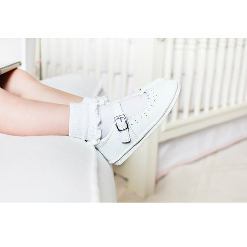 Scarlett White Scalloped Mary Jane (Baby) - Angel Baby Shoes / L'Amour Shoes