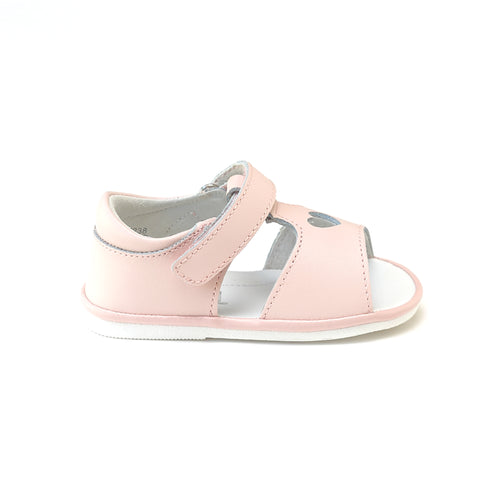 Betsy Pink Open Heart Leather Sandal (Baby) - Angel Baby Shoes