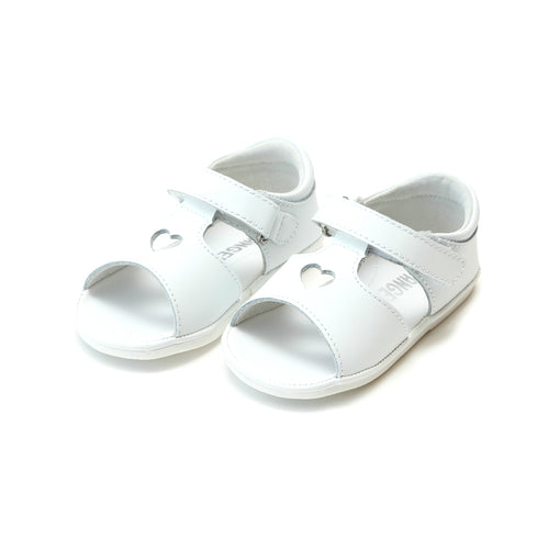 Betsy White Open Heart Leather Sandal (Baby) - Angel Baby Shoes