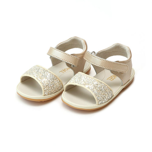 Elise Champagne Glitter Open Toe Sandal (Baby) - Angel Baby Shoes