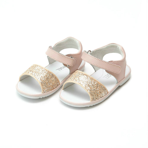 Elise Pink Glitter Open Toe Sandal (Baby) - Angel Baby Shoes