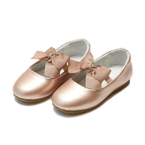 Pauline Special Occasion Pink Gold Bow Flat - L'Amour Shoes