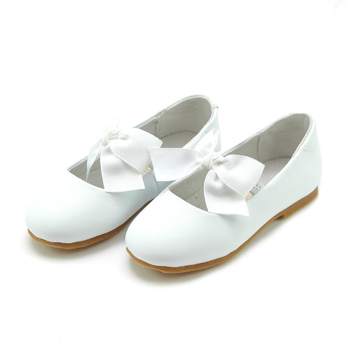 Pauline Special Occasion White Bow Flat - L'Amour Shoes
