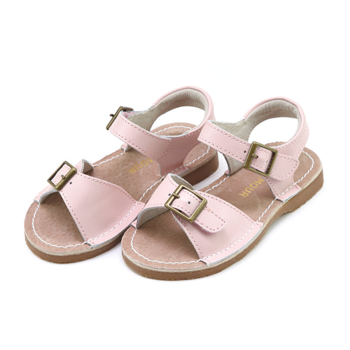 Olivia Dusty Pink Leather Buckle Open Toe Sandal - L'Amour Shoes