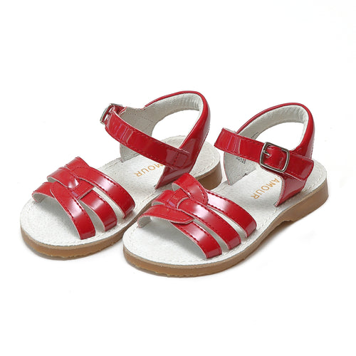 Peyton Girls Patent Red Leather Braided Sandal - L'Amour Shoes