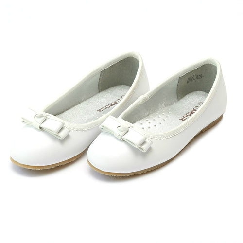 Nina Double Bow Leather Ballet Flat - L'Amour Shoes