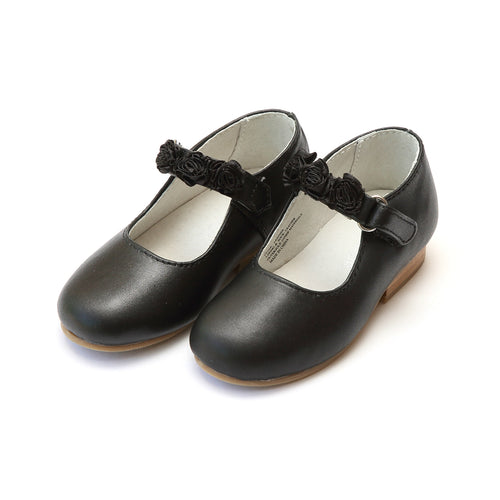 Camilla Special Occasion Black Leather Rosette Strap Flat - L'Amour Shoes