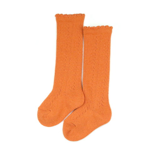 L'Amour Girls Socks - Crochet Knee High Socks in Spicy Orange