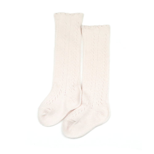 Crochet Knee High Socks (Powder Pink)