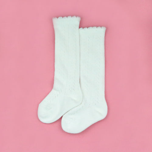 Crochet Knee High Socks (White)