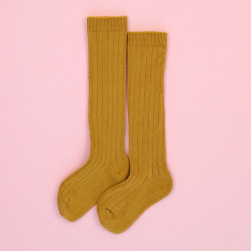Toddler Girls Ribbed Cotton Knee High Socks (Mustard) - L'Amour Shoes