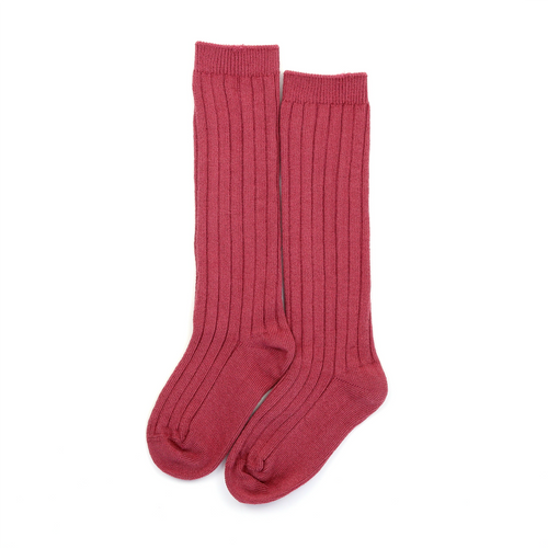 L'Amour Toddler Girls Cotton Ribbed Knee High Socks (Rose Mauve) - L'Amour Shoes