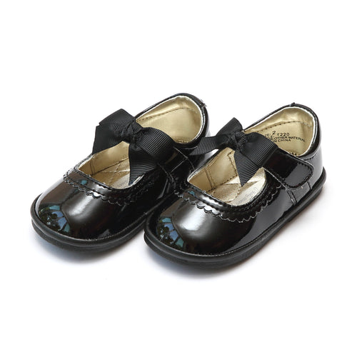 Elsa Black Grosgrain Bow Strap Mary Jane (Baby) - Angel Baby Shoes