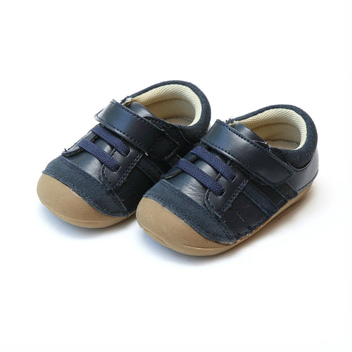 Olsen Navy Velcro Sporty Sneaker with Elasticized Lace - L'Amour Shoes