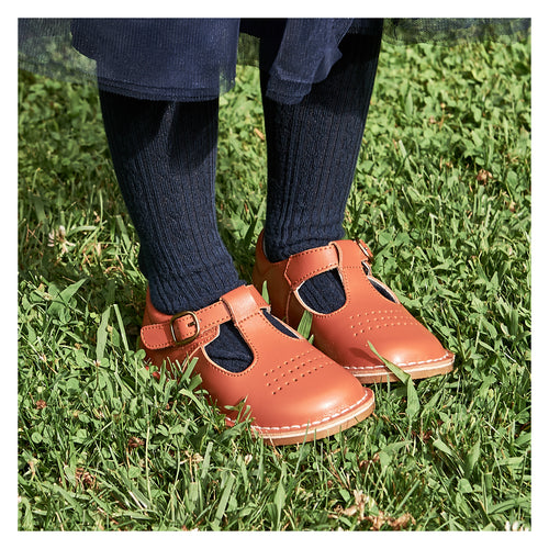 Cecile Spicy Orange T-Strap Dotted Punch Stitch Down Vintage Style Mary Jane- L'Amour Shoes