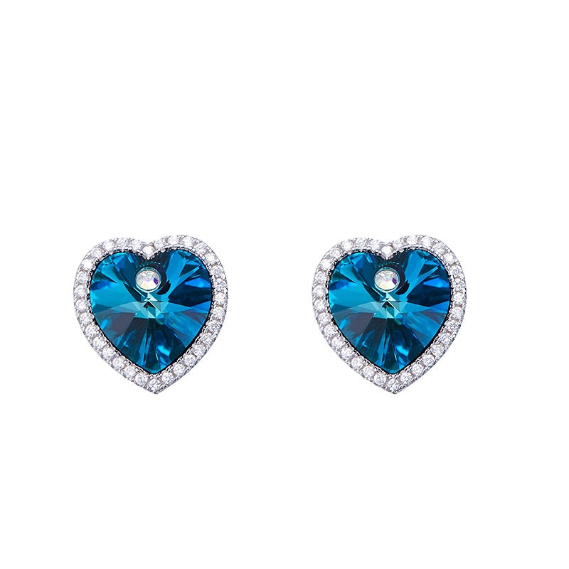 Sterling silver simple blue topaz crystal heart earring - CDE Jewelry Egypt
