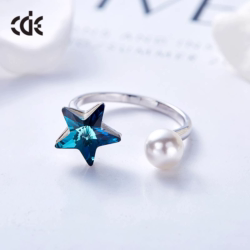 The cute sapphire star with a pearl ring - CDE Jewelry Egypt