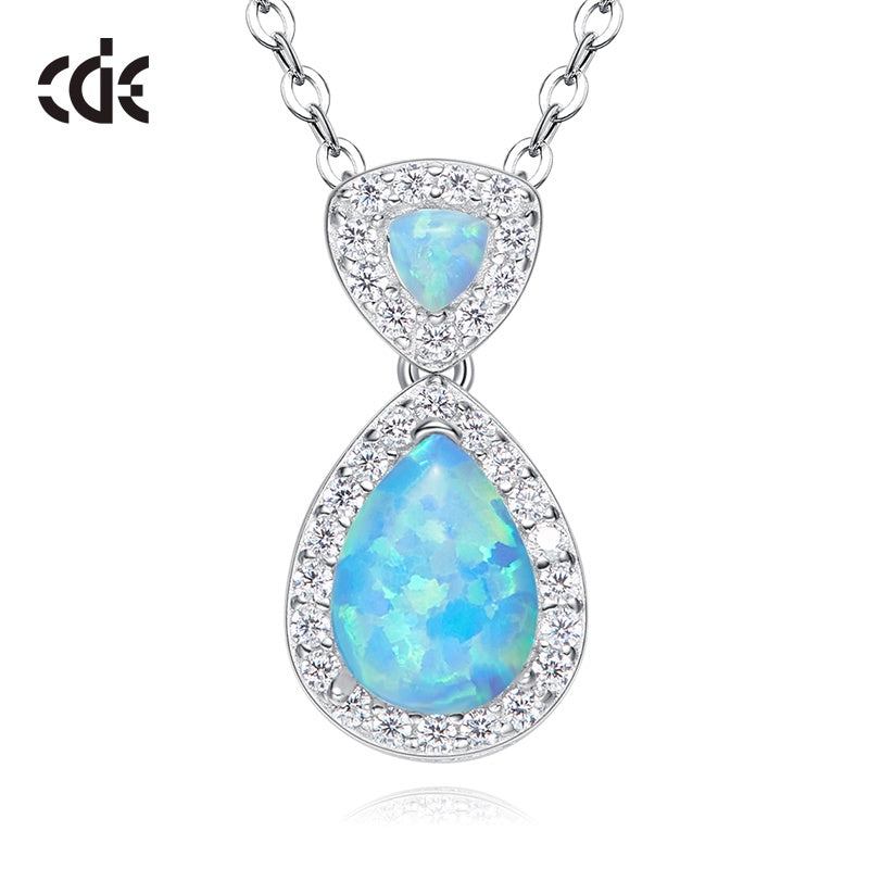 CDE S925 Sterling silver Opal women's necklace - CDE Jewelry Egypt