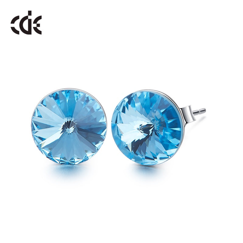 Sterling silver simple one crystal earring - CDE Jewelry Egypt