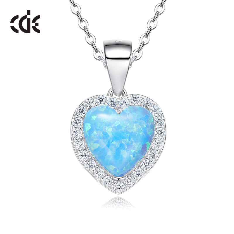 Sterling silver blue opal heart necklace - CDE Jewelry Egypt