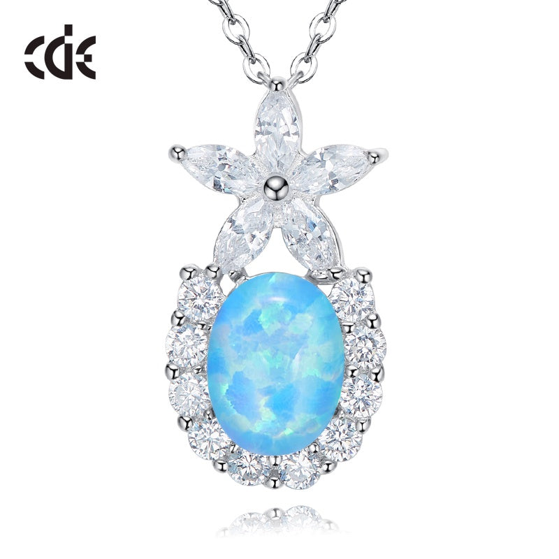 Sterling silver cute flower with an opal stone necklace - CDE Jewelry Egypt