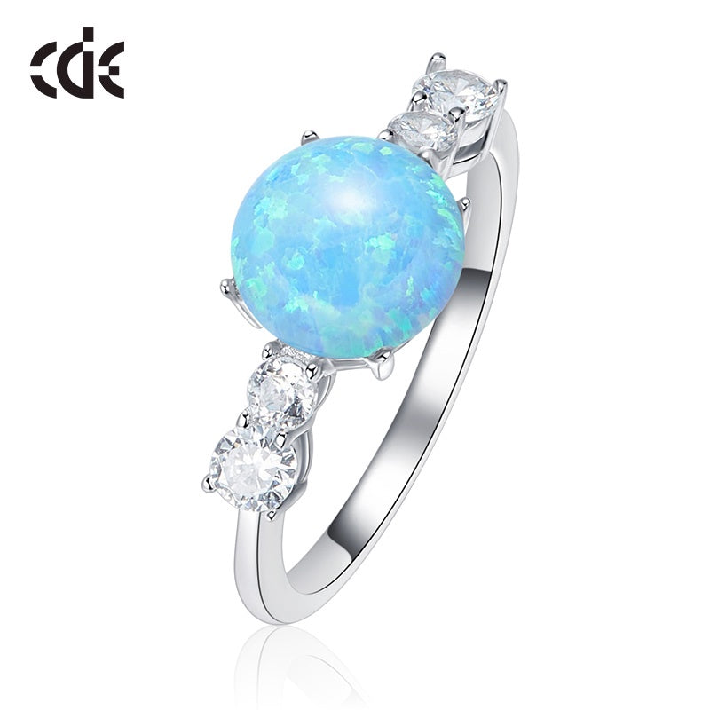 Sterling silver blue opal with small crystals ring - CDE Jewelry Egypt