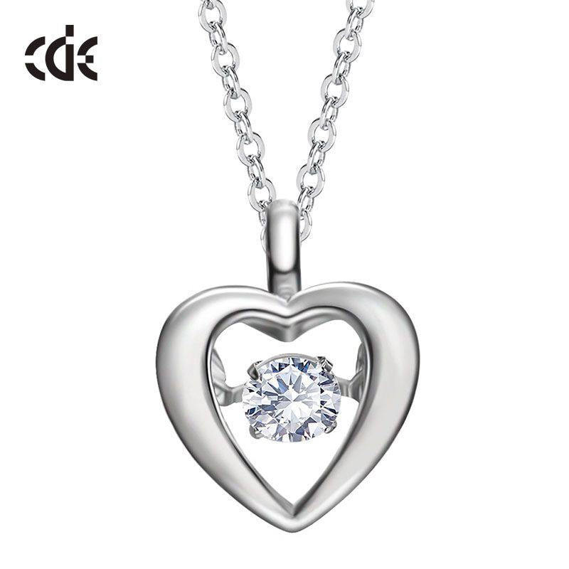 Sterling silver heart shaped dancing crystal necklace - CDE Jewelry Egypt