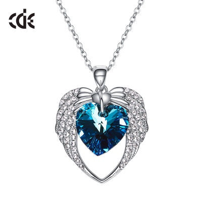 The joined winged hearts sapphire necklace - CDE Jewelry Egypt