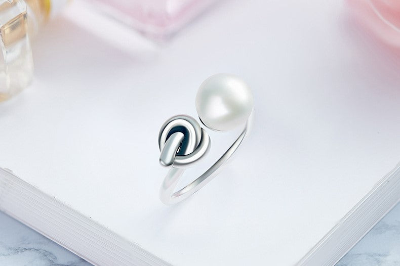 Sterling silver cute knot with a pearl ring - CDE Jewelry Egypt
