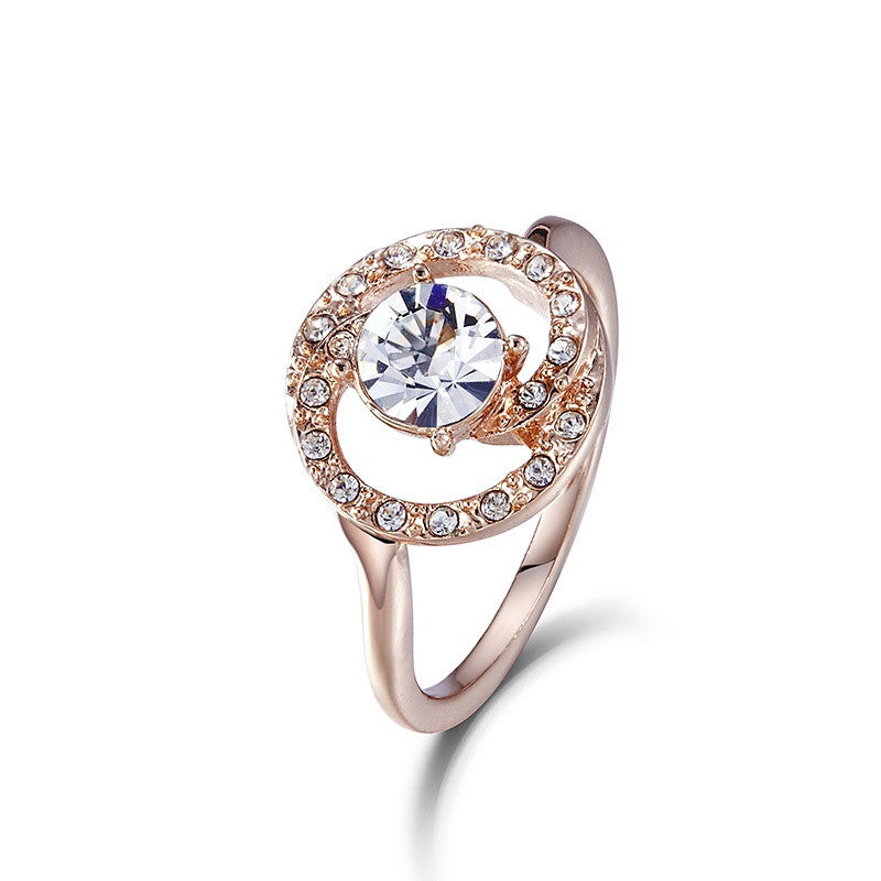 The golden little white crystal ring - CDE Jewelry Egypt