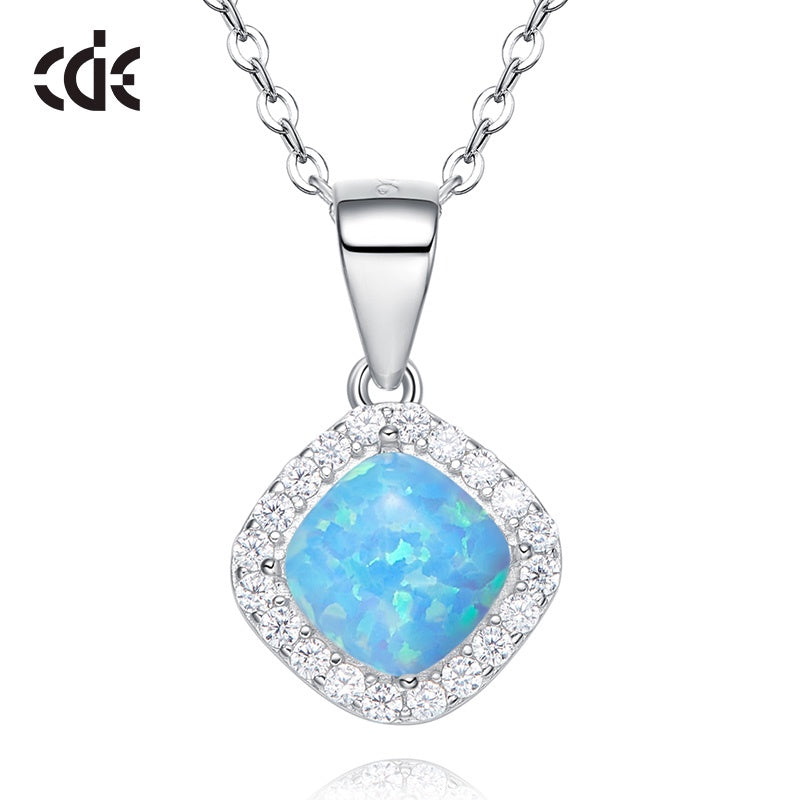 Sterling silver elegant rhombus shape opal necklace - CDE Jewelry Egypt