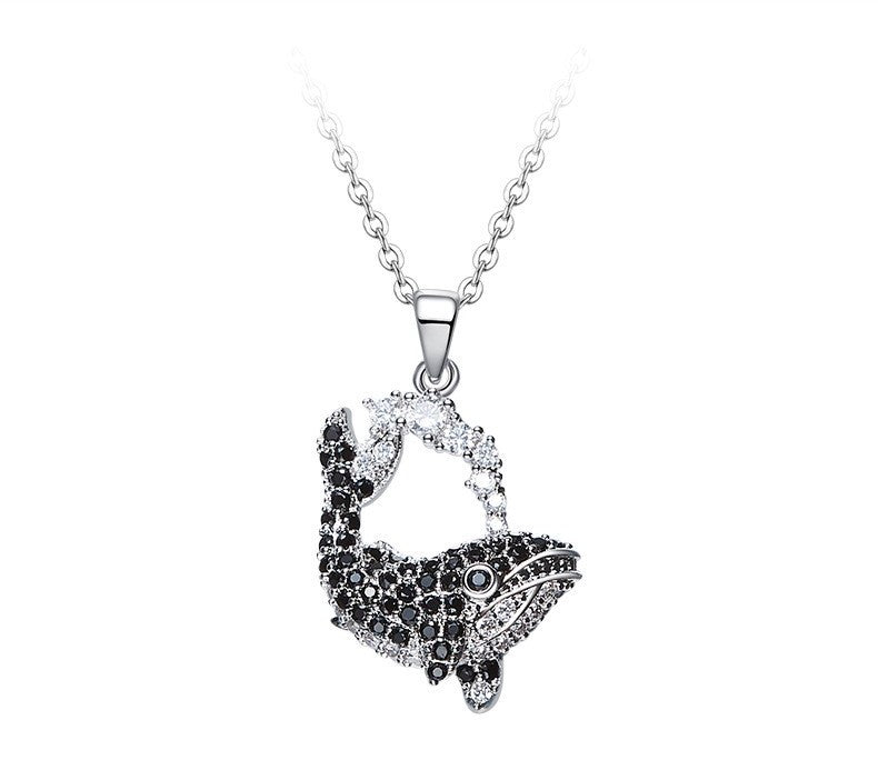 The black diamond whale necklace - CDE Jewelry Egypt