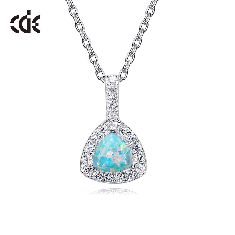 Sterling silver elegant shining crystal with an opal stone necklace - CDE Jewelry Egypt